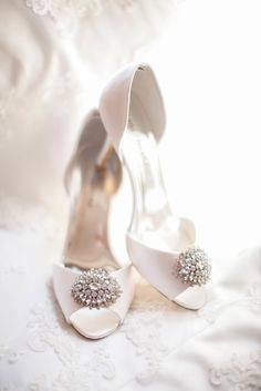 White Peep-Toe Heels With Brooch | Caynay Photo, LLC https://www.theknot.com/marketplace/caynay-photo-llc-madison-wi-819538 | Don't Shout Films