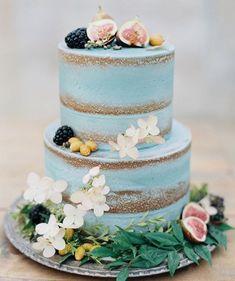 Unusual blue buttercream semi naked wedding cake #nakedweddingcake