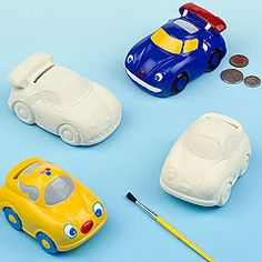 Kids will be 'driven' to save their pennies in these car shaped ceramic novelty coin banks.