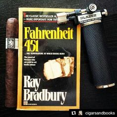 🔥 Sharing a hot #CigarAndBookClub pairing from @cigarsandbooks -- and a reminder to burn #cigars, not books.  #Repost ・・・ #fahrenheit451 is coincidentally the same temperature this #blazer requires to fire up this @drewestatecigar #ligaprivada #cigars @jonathandrew1 #botl #cigarsandbooks #lotl416
