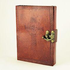 Celtic Cross Large Leather Journal w/Brass Latch