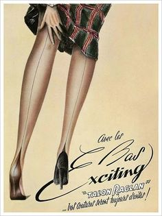 Lingerie — Images and vintage original prints Retro Advertising, Vintage Advertisements, Vintage Ads, Vintage Posters, Vintage Stockings, Silk Stockings, Nylons, Chic Et Choc, Bas Sexy