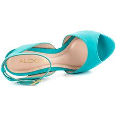 Aldo Women's Perelli - Turquoise (2 500 UAH) ❤ liked on Polyvore featuring shoes, sandals, blue platform sandals, platform shoes, ankle wrap sandals, high heel sandals and aldo shoes