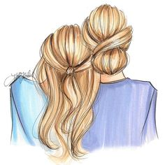 """Lean on Me"" available in two hair color options at hnillustration.etsy.com…"