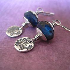 Blue Labradorite Fine Silver Earrings Gemstone Metal by loriyab, $40.00