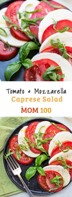 "Make the most of your summer tomatoes! Fast and easy, Tomato and Mozzarella Caprese Salad is the poster child for summer ""cooking"". Tomato Mozzarella Appetizer, Tomato Appetizers, Tomato Caprese, Healthy Cooking, Healthy Recipes, Cooking 101, Healthy Dinners, Clean Recipes, Healthy Foods"