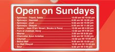 Which branches open on Sunday! #MaliksLebanon #Lebanon #Branches