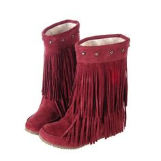 Increased Long Tassel Rivet Fashion Boots