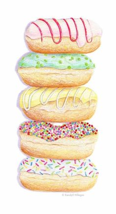 Donut Stack (Kendyll Hillegas) Donut Drawing, Food Drawing, Pumpkin Patch Birthday, Dessert Illustration, Food Project, Cute Donuts, Food Painting, Volunteer Appreciation, Water Colors