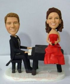 Playing the piano theme wedding cake topper Bride And Groom Pictures, Themed Wedding Cakes, Custom Wedding Cake Toppers, Groom Wear, Piano, Pianos