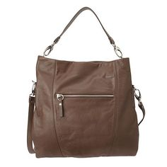 """Sleek genuine leather crossbody bag with zippered pocket on front. Zippered closure. Strap can be removed to wear as shoulder bag as well. 13.5""""x13""""x 3"""" with 7"""" drop from shoulder."""