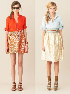 skirts. shirts. bright. Belt on the right
