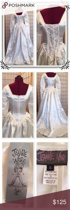 "Jeannie Nitro Wedding/Festival Gown Absolutely stunning. NWT. Fabric is polyester and silk. 56"" long in front and 65"" in back (includes train). Sleeve length from shoulder is 34"". On dress form bust measures 34"". Lacing in front could adjust this slightly. All Jeannie Nitro Bone Church Gothic clothing is handmade in San Francisco. Jeannie Nitro Dresses Maxi"