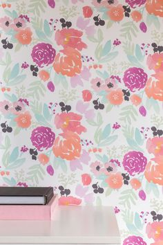 Caitlin Wilson | Pastel Blooms Petite in White Wallpaper
