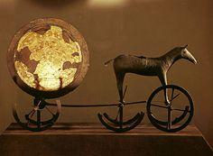 Trundholm sun chariot (Sončni voz iz Trundholma). Late Danish Bronze Age. 1400-1200 B.C.
