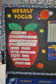 This first grade teacher uses a large apple pocket chart for part of her focus wall.  I love pocket charts that come in all different sizes, shapes, and colors and I have used on of these large apple pocket charts in my own classroom.