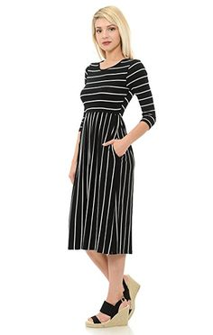Iconic Luxe Women's Contrast Striped Fit and Flare Midi Dress with Pockets Small Black
