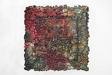 "Ruby Red Glass Wall Sculpture by Mira Woodworth (Art Glass Wall Sculpture) (15"" x 15"")"