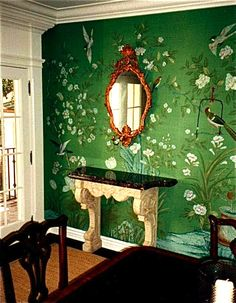 Amazing Emerald Green Wall With Painted Flowers Birds Dining Room Wallpaper