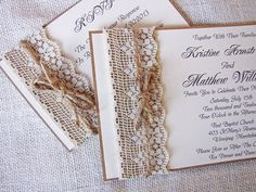 Handmade Rustic Lace and Burlap Wedding Invitation Sample. $5.50, via Etsy.