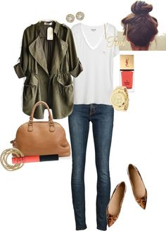 """Army Green, Coral & Lepoard Print"" by angela-reiss ❤ liked on Polyvore"