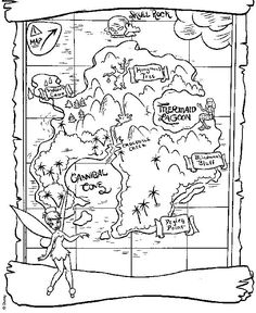 Neverland Map for Peter Pan and Tinkerbell Coloring Page