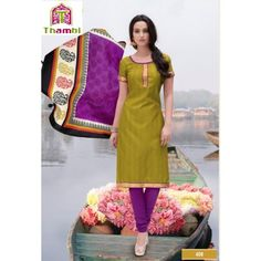 Unstitched Salwar Kameez-Green With Pink color designer Unstitched Churidar Material - By Thambi shopping