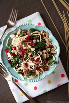 Pasta with Pancetta, Spinach and Pomegranate // @marlameridith