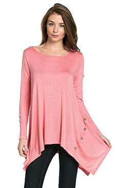 My Space Clothing Women's Scoop Neck Long sleeve Handkerchief Button Detail Tunic - Made in USA (Small, Peach Blossom) My Space Clothing http://www.amazon.com/dp/B01BO7OPIA/ref=cm_sw_r_pi_dp_2wIVwb0B877YE
