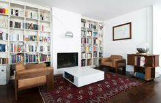Eccentric Penthouse Design with Minimalist Interior Concept: Captivating Personal Library Design In Col Di Lana House With Brown Soft Couche...
