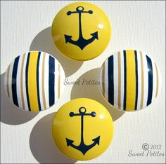 Hand Painted Knob Dresser Drawer Nautical Stripes and Anchor Bright Yellow Navy and Tan. $7.00, via Etsy.