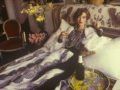 loulou de la falaise in her left bank apartment, 1982