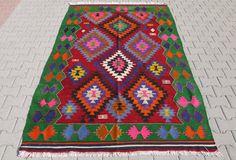 "VINTAGE Turkish Kilim Rug Carpet, Handwoven Kilim Rug, Antique Kilim Rug ,Decorative Kilim - 66"" x 106"" (167 x 270 CM)"