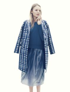 J.Crew Collection indigo pattern topcoat, Tilly sweater and metallic pleated midi skirt.