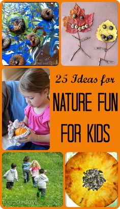 Nature Fun for Kids from Share It Saturday - 25 nature inspired crafts and learning activities at www.fun-a-day.com