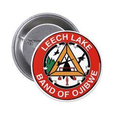 Leech Lake Band of Ojibwe Pinback Button chippewa indians Native American seal tribes flag