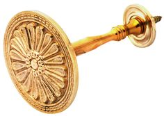 Solid Brass Large Button Victorian Style Curtain Tie Back - measures 3 inch in diameter with a projection of 4 inch. Screws directly into wall. Available in several different finishes.