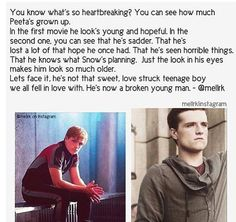 Peeta Mellark: The Hunger Games vs. Catching Fire. and this is why our Joshua is an amazing actor, <3