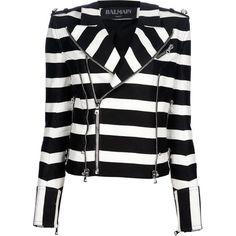 BALMAIN striped biker jacket (20 650 SEK) ❤ liked on Polyvore featuring outerwear, jackets, coats, balmain, tops, moto jacket, stripe jacket, balmain jacket, fitted moto jacket and moto zip jacket
