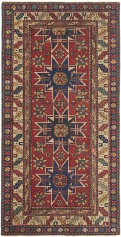 Caucasian Lesghi, 3ft 7in x 6ft 10in, 3rd Quarter, 19th Century. Of tremendous artistic magnitude, this highly collectible Caucasian Lesghi antique rug presents the eight-pointed star, the emblem of the Caucasian Lesghi tribe, drawn with exceptional definition and vigor. A distinctive elongated ground is also replete with 14 secondary star medallions that are enlivened by the use of teal to leaf green, prized saffron yellow and striking ivory outlines.
