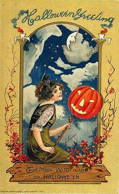 earwigbiscuits:      The Moon Witch…vintage Hallowe'en postcard