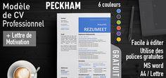 Peckham - Modèle de CV gratuit et professionnel Cv Curriculum Vitae, Functional Resume, Professional Resume Template, Letter Templates