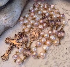 Pearl Rosary ~ French ~ Large Cultures Baroque Pearls ~ Antique Bronze Design