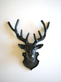 Deer Head Iron Wall Hanging in black by mahzerandvee on Etsy, $44.00