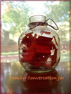 {Family Conversation Jar} Practice vocab words and learn about your child's day -- includes a free printable with words used during the holiday seasons!