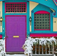 Purple door and turquoise entrance