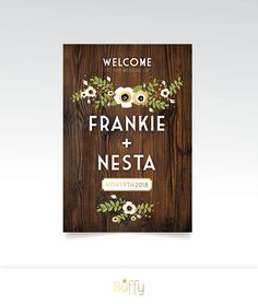 DARK WALNUT Wood Sign Large Wedding Welcome . Poppy Anemone Magnolia Garland Eucalyptus Olive Branch . PRINTED Paper • Foam Board • Canvas by BuffyWeddings on Etsy