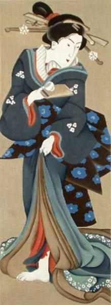 Melissa Shirley Designs | Hand Painted Needlepoint | Blue Geisha with Teacup