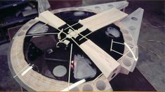 Behind-the-Scenes Close-Up of the Guts / Build-work of Star Wars' Millennium Falcon Miniature Spaceship Model