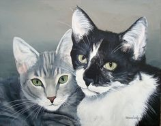 9x12 Custom Pet Portrait Pet Painting Two pets by by sharonlamb